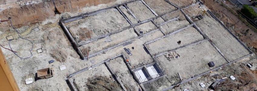 Acoba Assistance maîtrise d'ouvrage : vues aériennes sur le chantier de l'EHPAD La tour du Pin à Saint-André-de-Cubzac