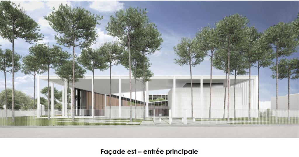 Acoba Assistance maîtrise d'ouvrage : Construction neuve d'un palais de justice à Mont-de-Marsan - Façade Est - Entrée principale