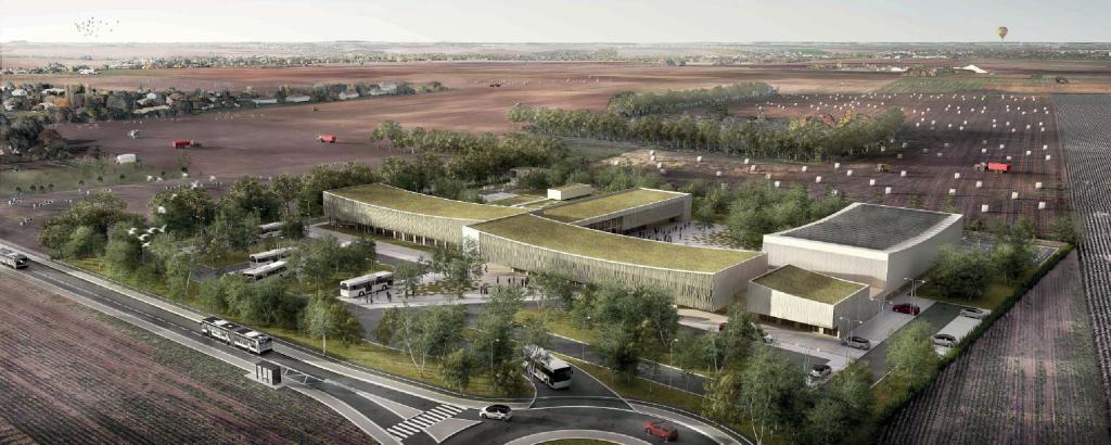 Acoba Assistance maîtrise d'ouvrage : Construction d'un collège à Vouneuil-sous-Biard (Poitiers) - Perspective aérienne
