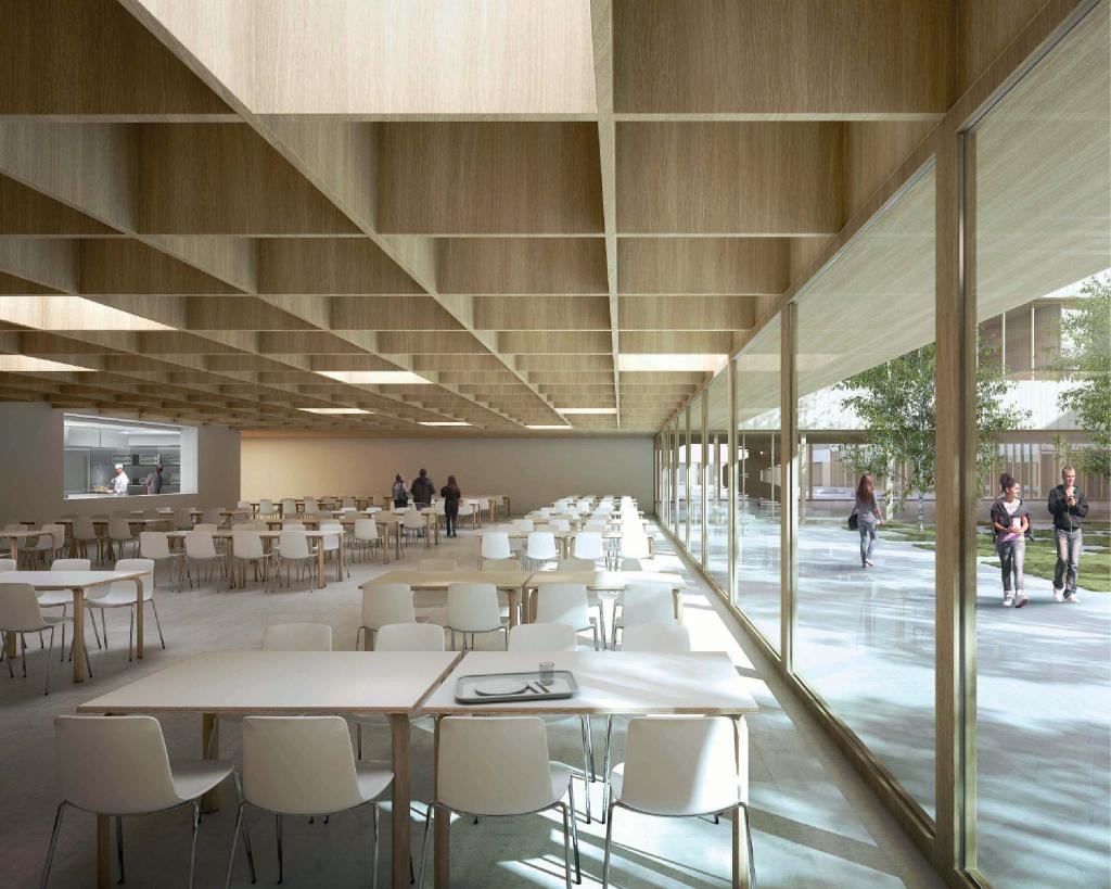 Acoba Assistance maîtrise d'ouvrage : Construction d'un collège à Vouneuil-sous-Biard (Poitiers) - Perspective salle à manger