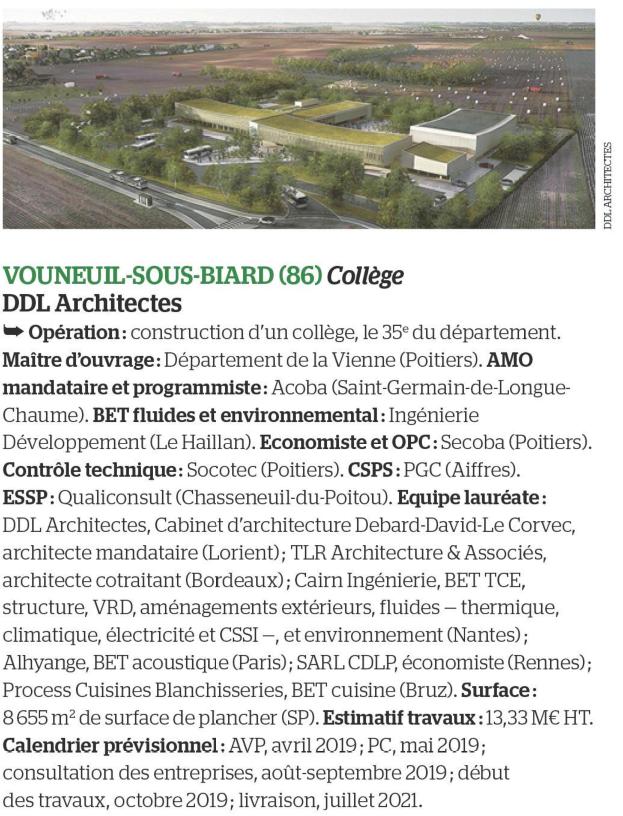 Acoba - Assitance maîtrise d'Ouvrage : Parution dans Le Moniteur pour la Construction d'un collège à Vouneuil-sous-Biard (Poitiers)