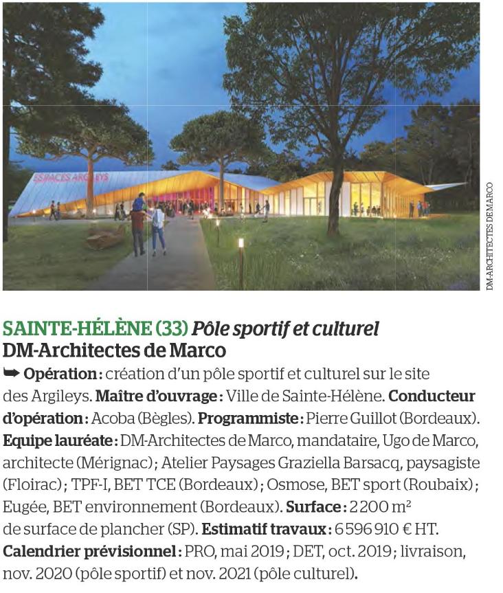 Acoba - Assitance maîtrise d'Ouvrage : Parution dans Le Moniteur pour la création d'un pôle sportif et culturel à Sainte Hélène