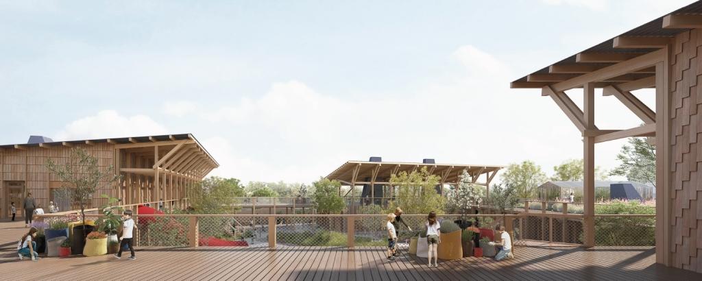 Acoba Assistance maîtrise d'ouvrage : signature du marché de conception réalisation pour le 5ème groupe scolaire de la ville de Bruges - Vue extérieure