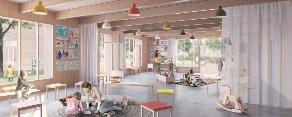 Acoba Assistance maîtrise d'ouvrage : signature du marché de conception réalisation pour le 5ème groupe scolaire de la ville de Bruges - Vue intérieure