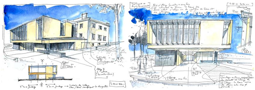 Acoba Assistance maîtrise d'ouvrage : Restructuration extension du château Fongravey à Blanquefort (Gironde) - Vue Croquis BL2