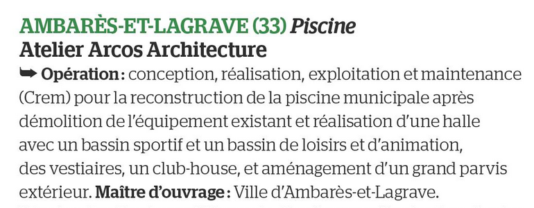 Assitance maîtrise d'Ouvrage - Acoba dans Le Moniteur pour la piscine d'Ambarès-et-Lagrave