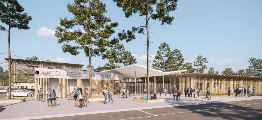 Acoba - Assistance à Maîtrise d'Ouvrage : Construction du nouveau collège du Pian Médoc - Perspective 1